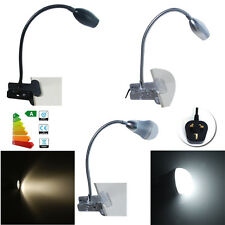Flexibly Clip On Table Desk Lamp 3 pin UK Plug Reading Warmwhite Night Light
