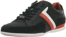 HUGO BOSS - GREEN - 'Spacit' Leather And Suede Sneakers In Black