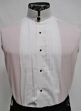 Mens White Banded/Mandarin Collar Pleated Tuxedo Shirt Chinese Nehru ALL SIZES