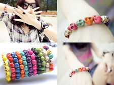 1Pcs Fashion Charms Punk Rock Turquoise Sugar Skull Bracelets Elastic Wristband