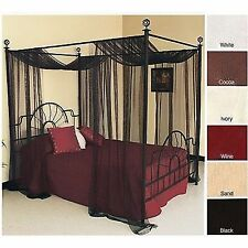 Canopy Bed Panel Drape Curtain Sheer Cover Net Netting King Queen Full 4 poster