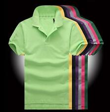 Hot Classic Men's Casual POLO Shirt Solid Color T-shirt Sports Short Sleeve Tops