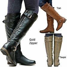 New Women FL23 Tan Black Taupe Gold Studded Riding Knee High Boots sz 5.5 to 10