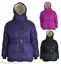 Girls Kids Winter School Jacket Hooded Fur Lined Polyester Coat Jacket 3-13