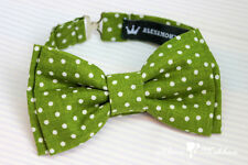 Handmade Green & White Polka Dot Pre-tied Double Bow Tie - Adjustable Strap