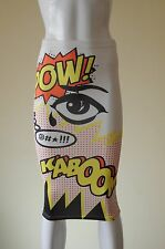 Topshop Vintage Comic Book Pop Art Pencil Skirt Soft Fabric 80s Roy Lichtenstein
