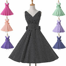 ❤ New In ❤50s Rockabilly Polka Dots Retro Style Housewife V Neck Evening Dresses
