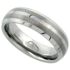Tungsten Carbide 6 mm Dome Wedding Band Ring with Double Etched Satin Stripes