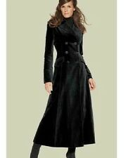 Women's Chic Slim Fit Long Coat Lapel Double Breasted Wool Blend Overcoat Black