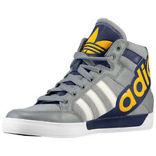 "Mens Adidas Originals Hard Court 2 Big Logo Sneakers Gray Navy ""Michigan"" G98512"
