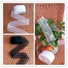 50, 100 Yards Black and White Embroidered Net Lace Trim Ribbon