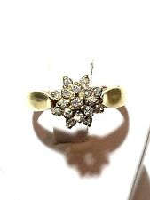 ESTATE 14K YELLOW  ENGAGEMENT CLUSTER STYLE DIAMOND APPX .30 TW RING 3.4 GRA