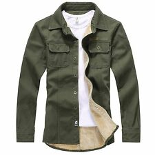 Mens Casual Military Style Sherpa Lined Thicken Winter Denim Shirt Jacket Blazer