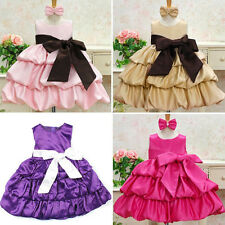 Lovely Baby Kids Girl Sleeveless Party Dress Bow Formal Bubble Dress Skirts 2-7Y