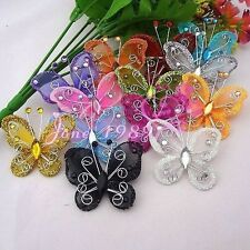 Upick Wire Glitter Butterfly Appliques Wedding Decoration Supply 13 Colors B0109