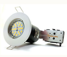 20 x WHITE FIRE RATED RECESSED CEILING DOWNLIGHTS + GU10 LED BULBS SPOT LIGHTS