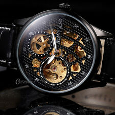 Luxury Automatic Mechanical Skeleton Watch Sport Analog Mens Leather Wristwatch