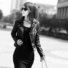 High Quality Womens Synthetic Leather Jacket Short Slim Coat Motorcycle Black jb