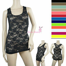 ROSE FLORAL LACE STRETCH RACER BACK CAMI SHIRTS SLIMMING MESH TANK TOP HOT TEE