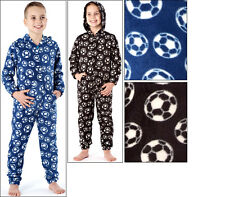 BOYS HOODED FOOTBALL ALL IN ONE PYJAMA FLEECE. (In Hook Bag)SIZE 3 TO 10 YEARS