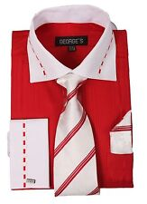 Men's fashion Dress Shirt With Tie&Hanky 2 Tone Red/WhiteColor,French Cuff # 621