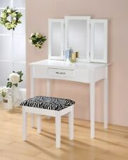 Contemporary Vanity Set with Tri- Fold Mirror and Stool 1207-ZEBRA