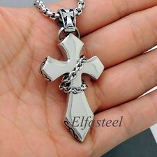 Men's Unique Design Silver Chained Cross 316L Stainless Steel Pendant
