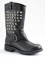 NIB~ROCK & REPUBLIC Black Cowboy Studded Motorcycle Biker Boots~$110~See Sizes
