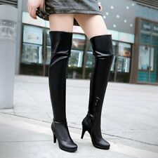 Women's Fashion Zip High Heel Platform Over Knee Boots Shoes US Size 3-14 A513