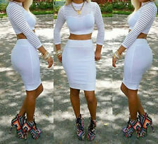 Women Two Piece Long Sleeve Bodycon Clubwear Cocktail Pencil White Party Dress