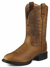 NEW ARIAT MENS 10008827 SPORT ROUND TOE ARENA BROWN LEATHER COWBOY BOOTS