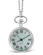 Engraved personalised chrome fob / pocket watch with chain & gift box - ref LR21