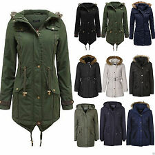 New Womens Ladies Hooded Faux Fur Parka Military Jacket Coat Size 8 - 24