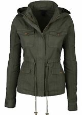New Womens Green Fashion Pocket Utility Jacket with Collar and Removable Hood
