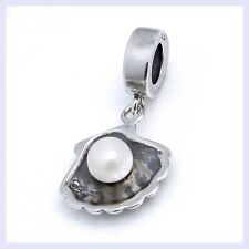 STR Silver Sea Shell Pearl Dangle Ocean Focal Bead f/ European Charm Bracelet