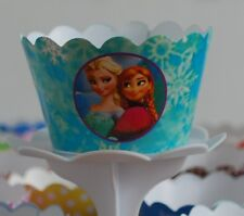 """12 Girls Bday Party """"FROZEN"""" Cupcake Wrappers - WORLDWIDE FREE SHIPPING"""
