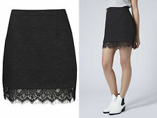 Topshop NEW in *** Black Textured Lace Hem Pelmet Skirt  RRP £36.00 All Sizes!
