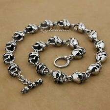 "316L Stainless Steel 18"" ~ 36"" Huge Heavy Skull Mens Biker Punk Necklace 5L018ND"