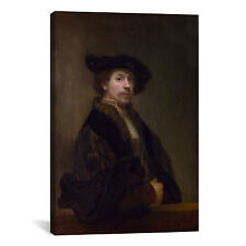 'Self Portrait at the Age of 34 1640' by Rembrandt Painting Print on Canvas