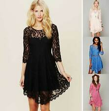 Hot Womens Leaf flower lace Sleeve Cocktail Club Party mesh Hollow Beach Dresses