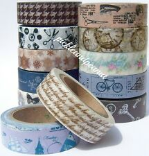 Washi Tape Paper Vintage Ephemera Tissue Tape Clock Key Script Travel Collage