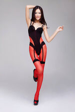 SEXY CROTCHLESS SHEER & OPAQUE RED & BLACK BODYSTOCKING LINGERIE CATSUIT KINKY