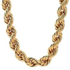 Hip Hop Fat Run DMC Yellow Gold Rope Dookie Chain Gold Plated Party Chain 36""
