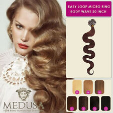 Medusa Wavy Body Wave Easy Loop Micro Ring Remy Human Hair Extensions 20""