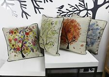 Cotton Linen Four Season Wishing Tree Sofa Decor Throw Pillow Case Cushion Cover