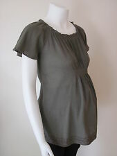 BNWT MATERNITY OLIVE GREEN COTTON CHEESECLOTH BOHO GYPSY TOP TUNIC SIZE 12 14 M