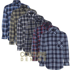 Mens Flannel Check Shirt Brushed Cotton Warm Lumberjack Smart Work Top Country