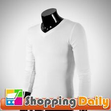 Men's Slim Fit Solid Color Causal Long Sleeve Tight Basic Tee V-neck T-shirt