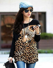 Women's Batwing Long Sleeve Top Leopard Animal Print Loose Casual Blouse Fashion