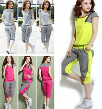 New Women Sport Tracksuit Lattice Running Yoga Jogging Sweat T-shirt+Pants Set
